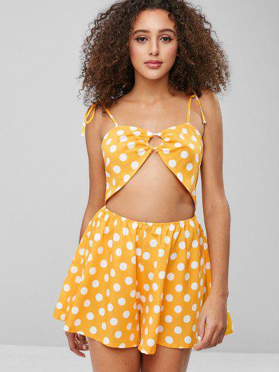 4b896f3c23d ZAFUL Polka Dot Cut Out Cami Romper - Bee Yellow S