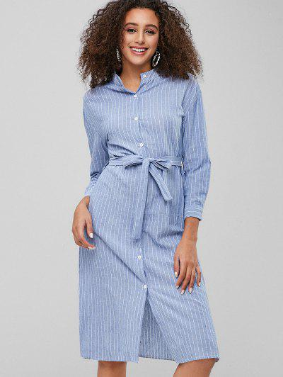 489eae81fb Casual Striped Belted Shirt Dress - Sky Blue M