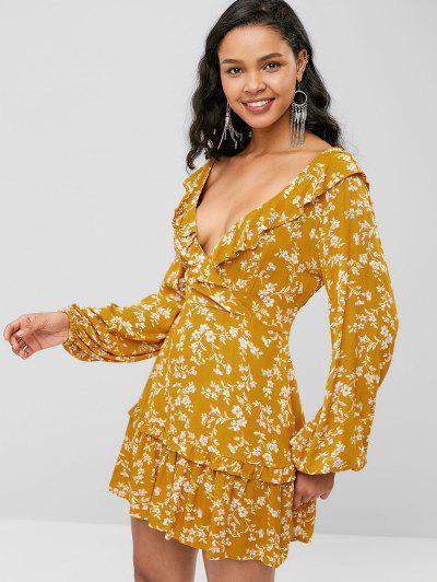 b69e2934423ac9 Flower Lace Up Plunging Ruffle Dress - Bee Yellow - Bee Yellow L