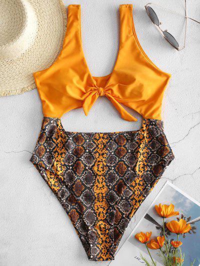 zaful ZAFUL Tied Cut Out Snakeskin Swimsuit