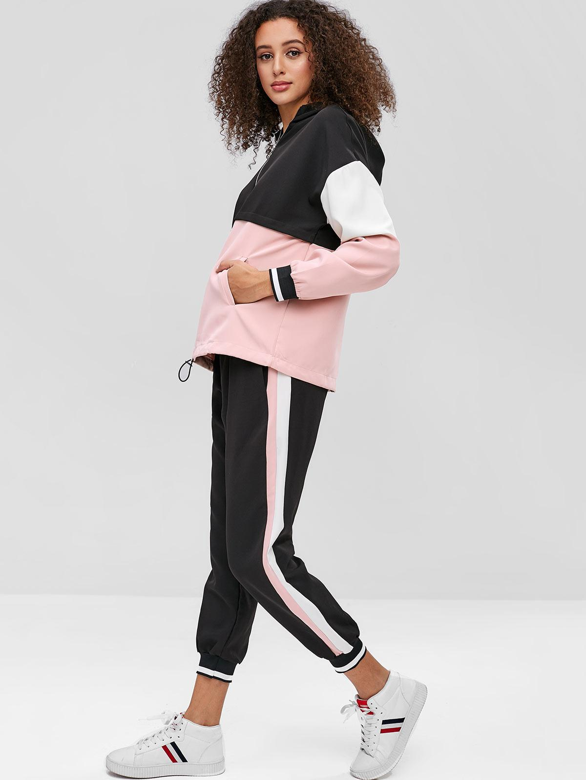 Color Block Hoodie and Jogger Pants Set