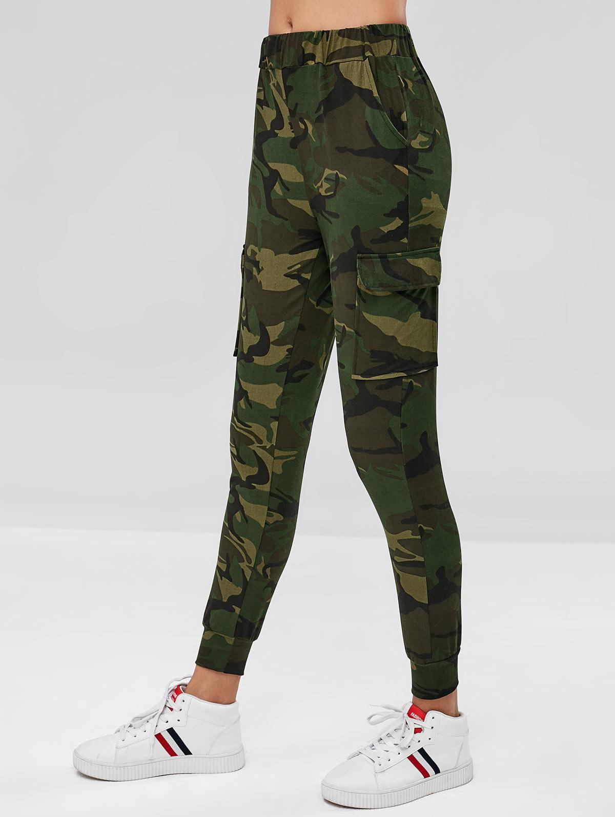 Flap Pockets High Waisted Camouflage Pants, Acu camouflage