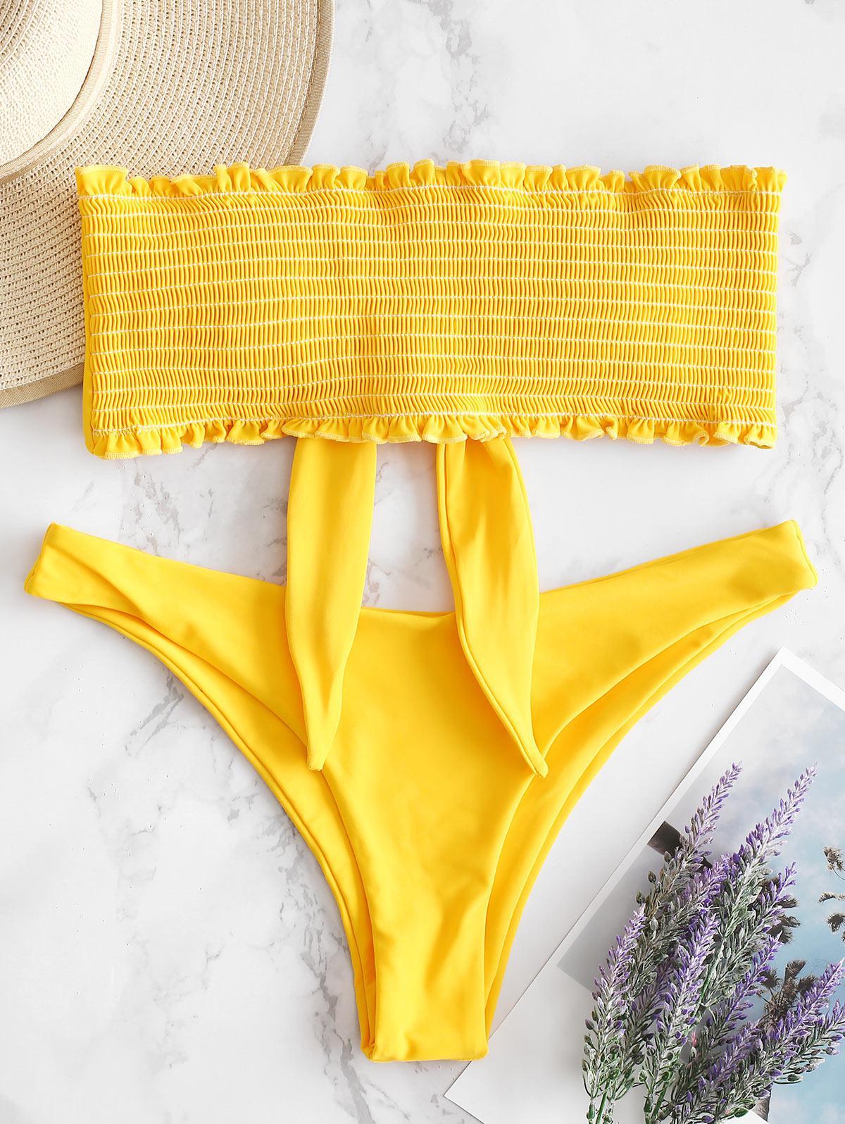 ZAFUL Frilled Knot Smocked Bikini Set, Bee yellow