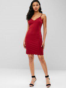 9d91543aec4 44% OFF  2019 Scalloped Cami Bodycon Mini Dress In RED WINE