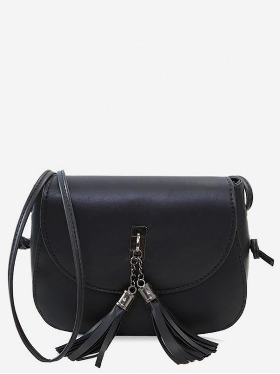 best Tassels Pendant Flap Crossbody Bag - BLACK