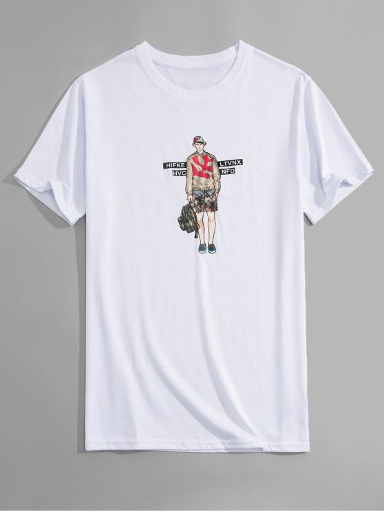 latest Man Print Graphic T-shirt - WHITE XL