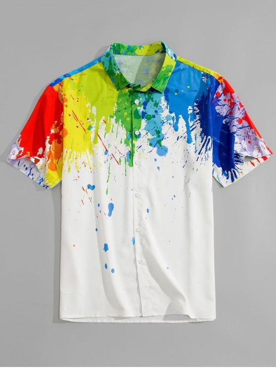 Splatter Painting Pring Kurzarmhemd - Weiß 2XL