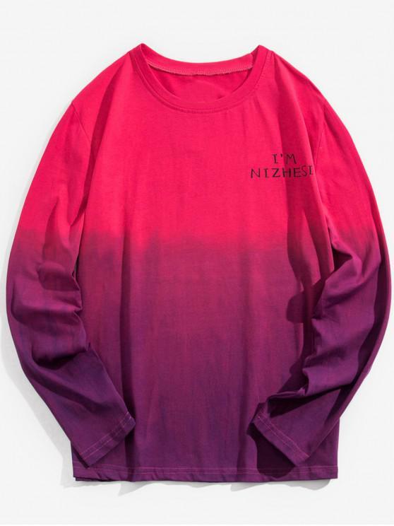 Ombre Rundhals-T-Shirt - Lila 5XL