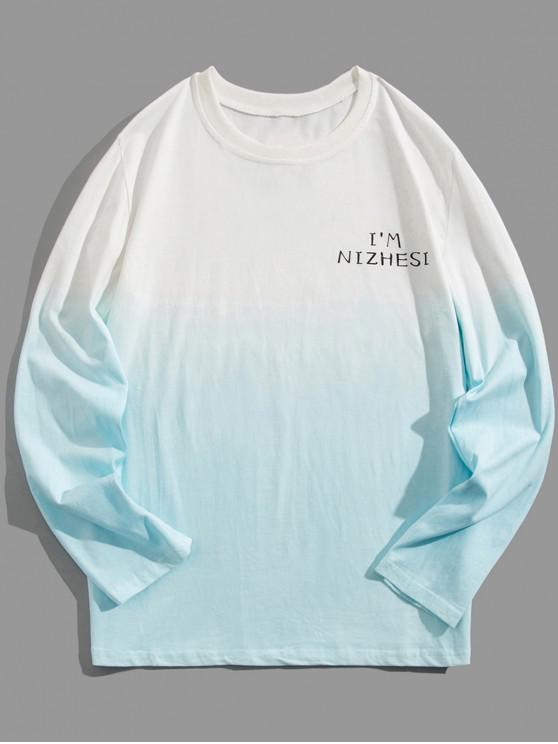 hot Ombre Round Neck Tee - LIGHT BLUE 5XL