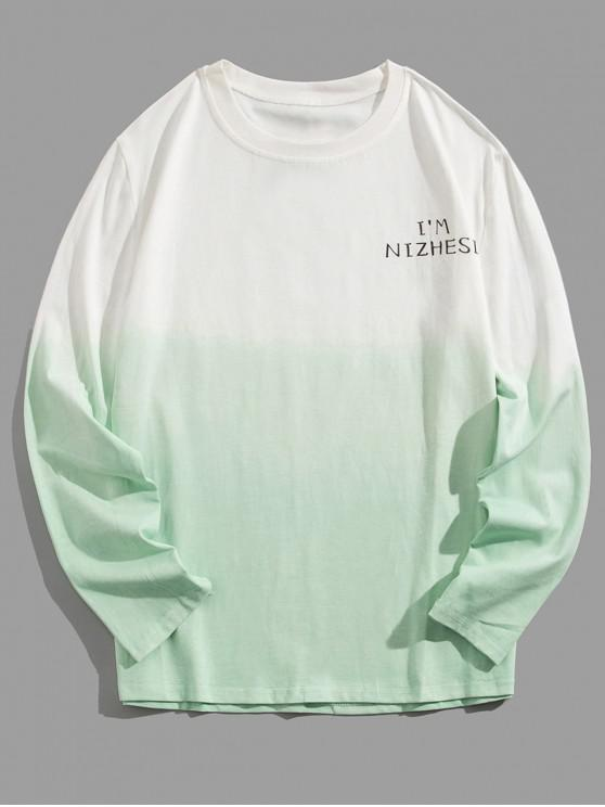 womens Ombre Round Neck Tee - GREEN 3XL