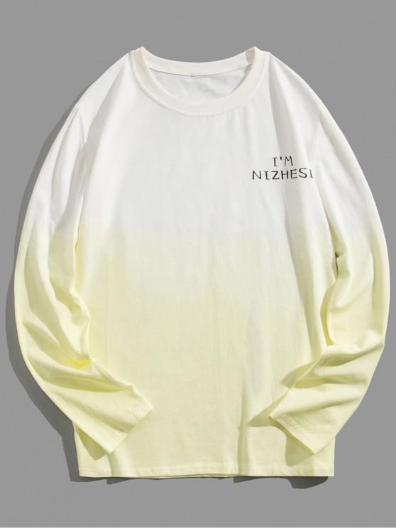 sale Ombre Round Neck Tee - YELLOW 3XL