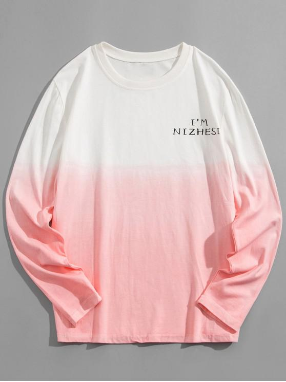 fancy Ombre Round Neck Tee - PINK 4XL