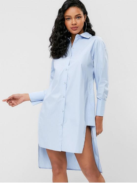 Vestido de camisa de alta baixa fenda assimétrica - Azul Claro S