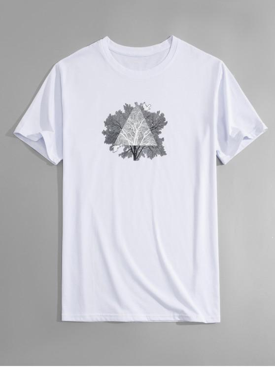 T-shirt da cópia da árvore - Branco 2XL