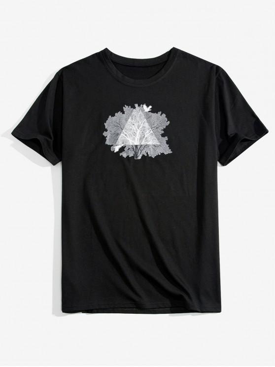 women's Tree Print T-shirt - BLACK L