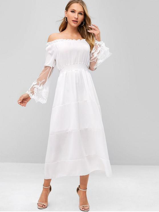fashion Tulle Off Shoulder Frilled Vacation Dress - WHITE S