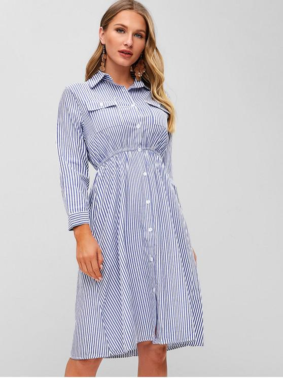 women Striped Pocket A Line Shirt Dress - BABY BLUE S