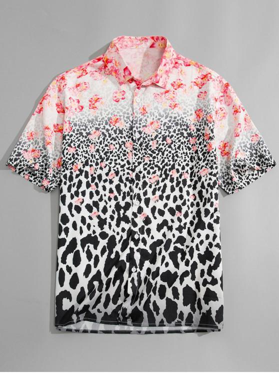 lady Flower Leopard Print Shirt - LEOPARD XL