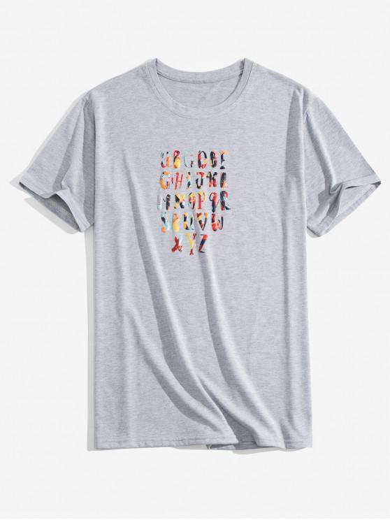 Camiseta graciosa con estampado de letras - Nube Gris 2XL