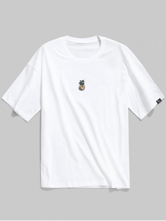 T-shirt ocasional do impressão do abacaxi dos Sequins - Branco M