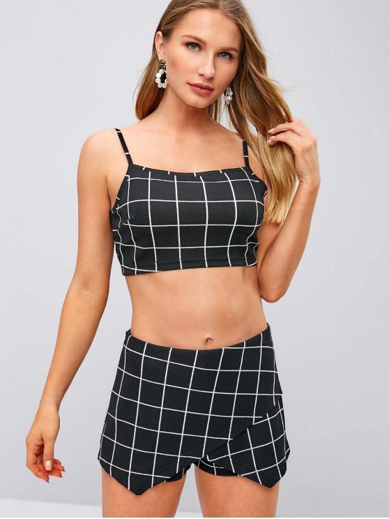 3d3ea36d48c 21% OFF  2019 ZAFUL Checkered Cami Top And Overlap Shorts Set In ...