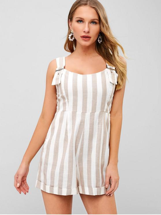latest Striped Rolled Hem Loose Romper - MULTI M