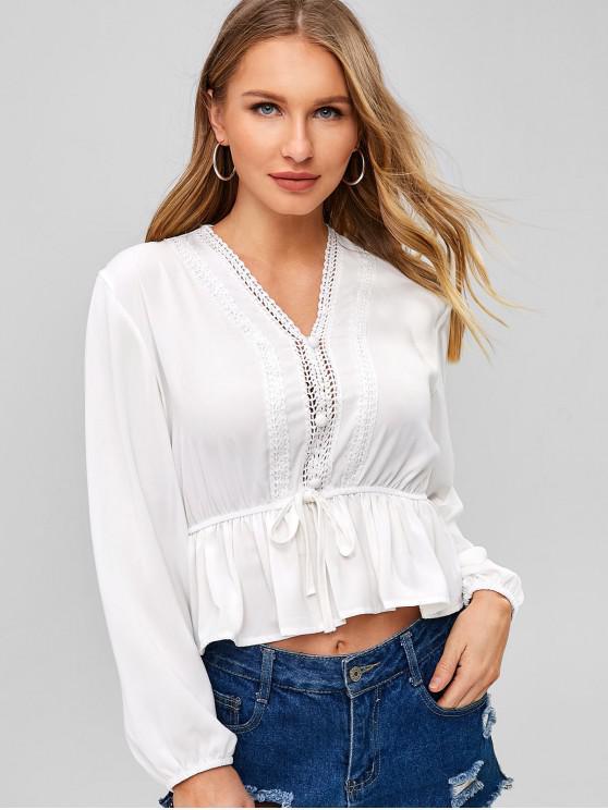 outfits Applique Trim Peplum Flounce Blouse - WHITE S