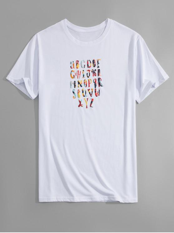 lady Funny Alphabet Print T-shirt - WHITE 2XL