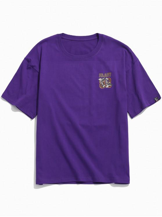 online Short Sleeves Letters Double Fish Print T-shirt - PURPLE 2XL