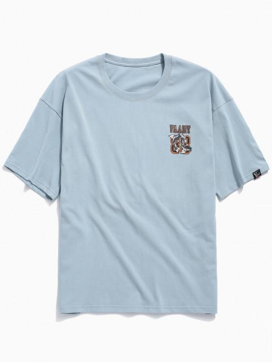 outfits Short Sleeves Letters Double Fish Print T-shirt - BABY BLUE 2XL