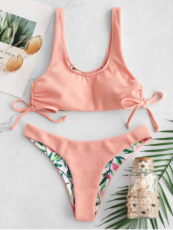 affordable ZAFUL Leaf Print Ribbed Reversible Tie Side Bikini Set - FLAMINGO PINK L