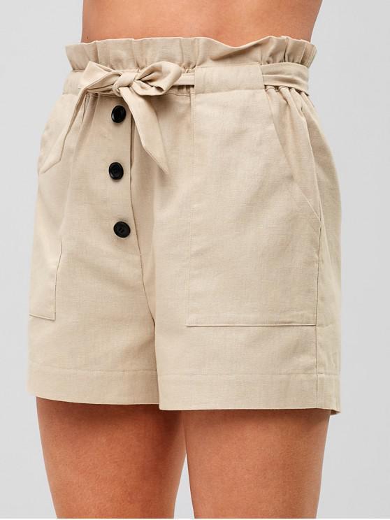 ZAFUL Cintura Alta Shorts Abotoados - Cáqui Claro S
