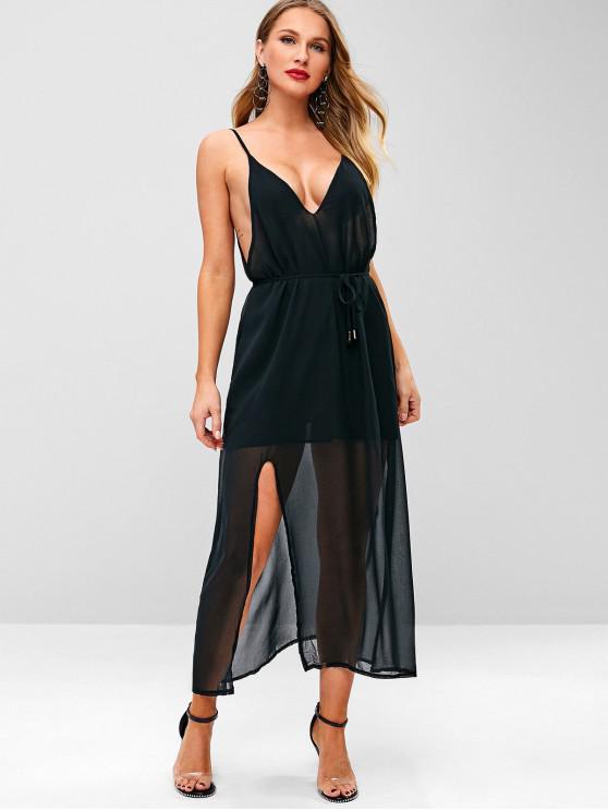 ladies Side Slit Spaghetti Strap Dress - BLACK XL