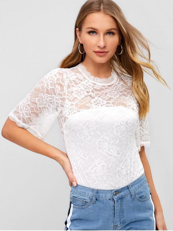 online Lace Sheer High Cut Bodysuit - WHITE L