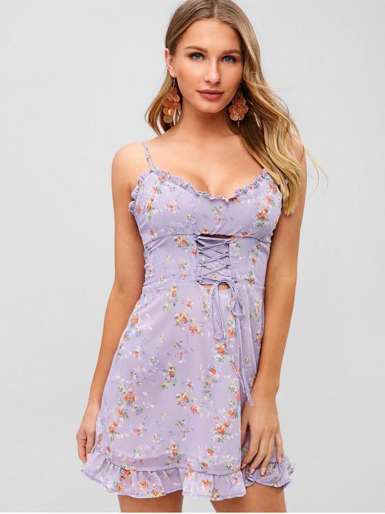 fancy Lace-up Ruffles Floral Sundress - PURPLE L