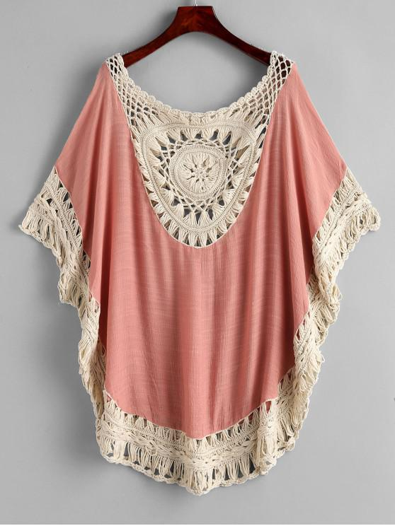 best Crochet Batwing Sleeve Cover Up - FLAMINGO PINK ONE SIZE