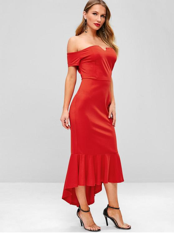 Voltar Zipper Off Shoulder Mermaid Dress - Lava Vermelha M