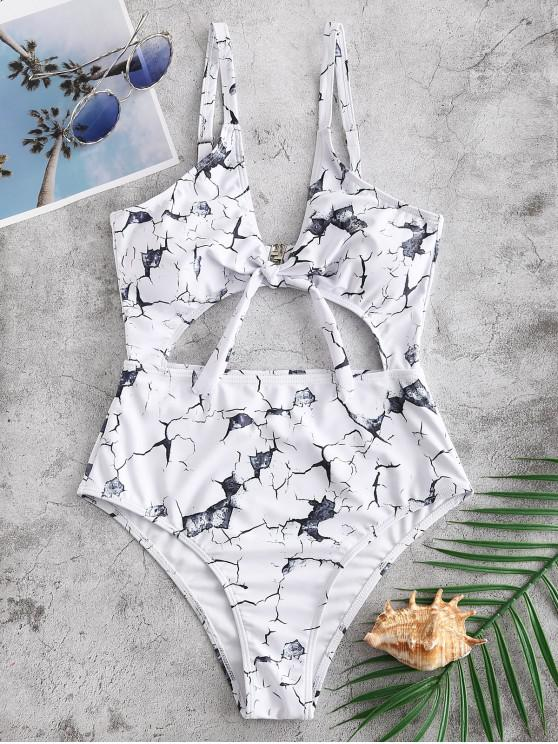affordable ZAFUL Marble Print Knot Cut Out Swimsuit - WHITE L