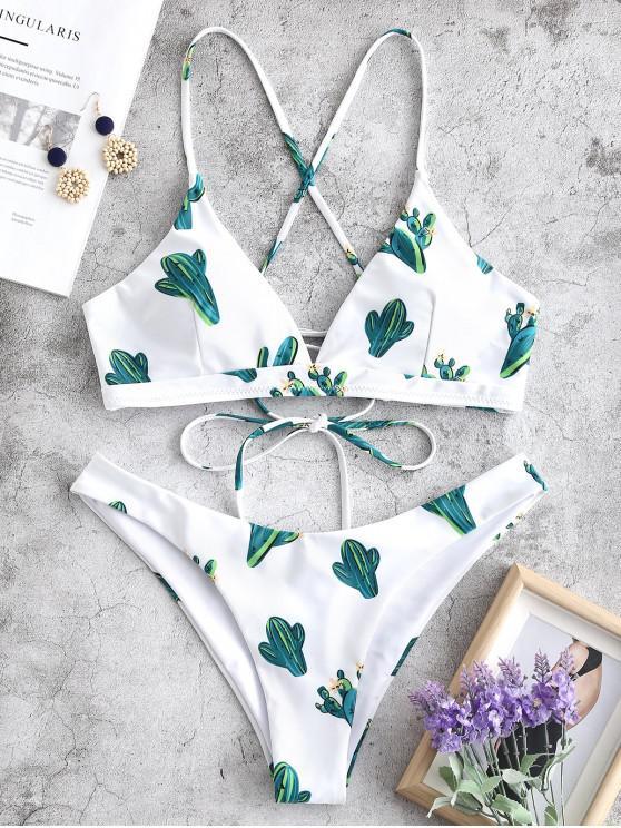 ZAFUL Lace-up Cactus Imprimir Bikini Set - Branco L