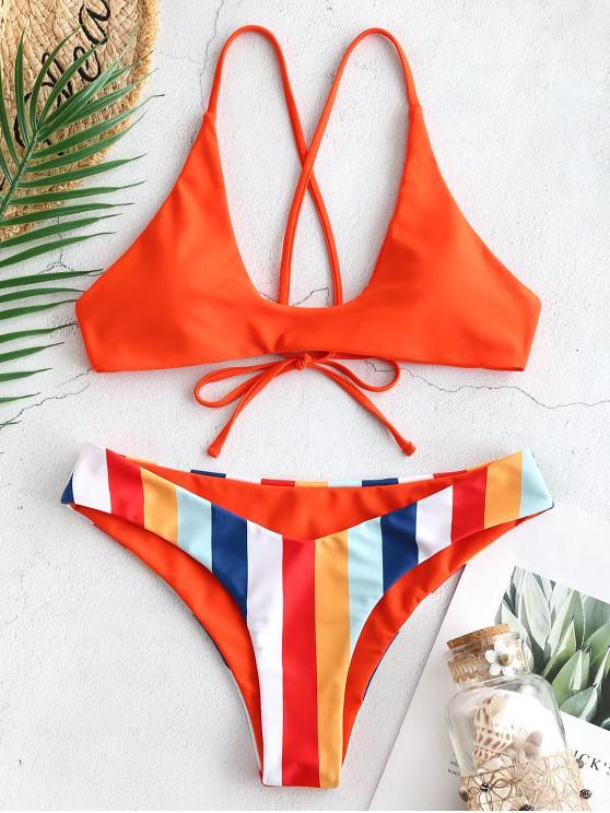 best ZAFUL Bold Striped Tie Back Scoop Bikini Set - BRIGHT ORANGE S