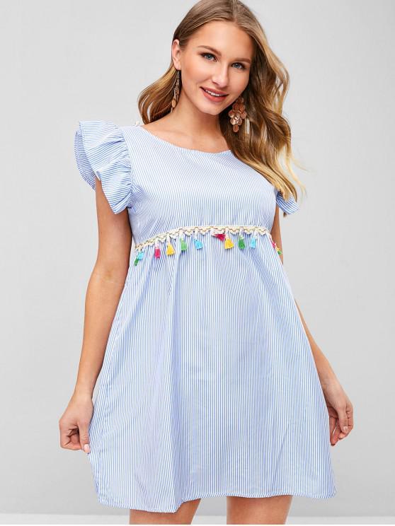 hot Tassels Embellished Knotted Striped Dress - LIGHT SKY BLUE M