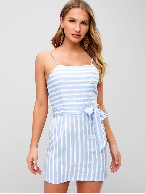chic ZAFUL Striped Button Embellished Bowknot Dress - DAY SKY BLUE S