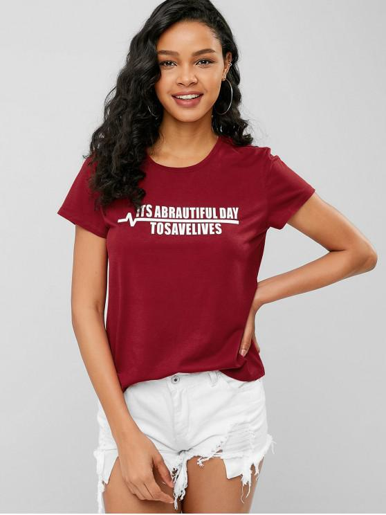 745ecf7c2 25% OFF] 2019 Its Abrautiful Day To Save Lives Graphic Tee In CHERRY ...