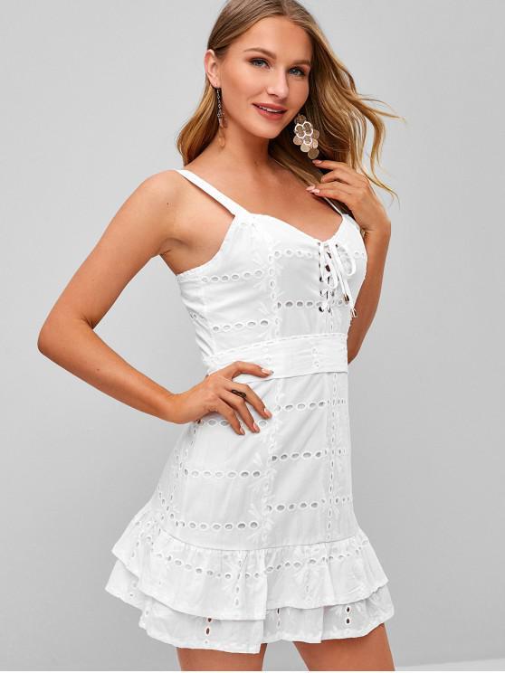 outfits Lace Up Sleeveless Ruffle Mini Dress - WHITE S