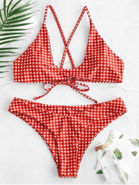 ZAFUL Loop Tie Gingham Scoop Bikini Set - Rojo Rosa M