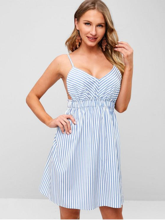 chic ZAFUL Striped Cami Backless Dress - PASTEL BLUE L