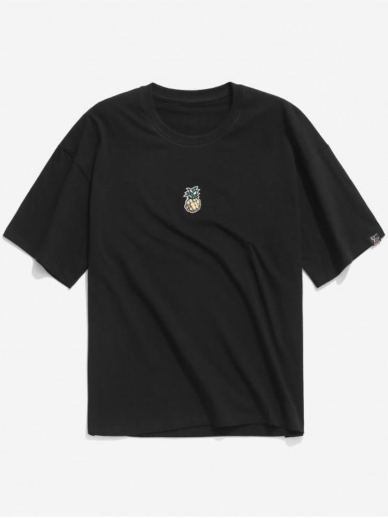 Camiseta con estampado de piña de lentejuelas casual - Negro L