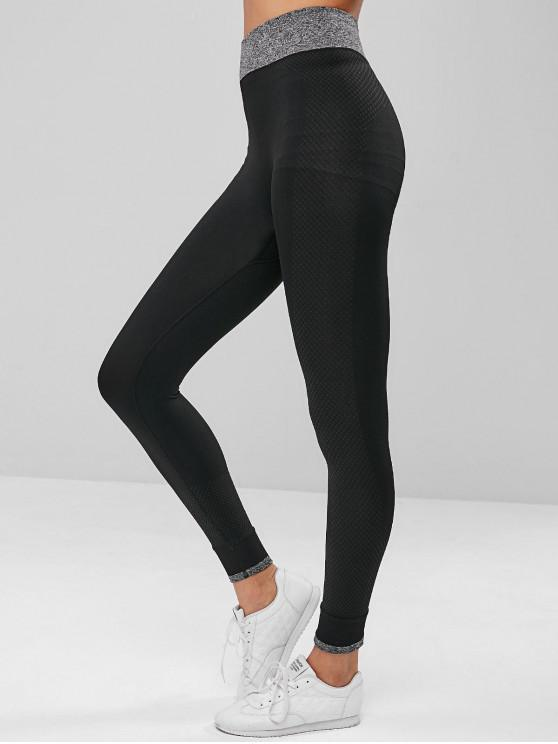 best High Waisted Contrast Textured Leggings - BLACK M