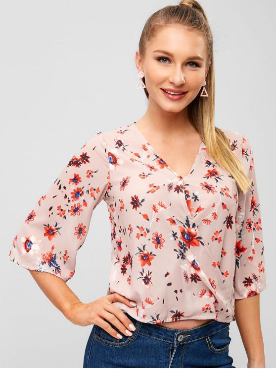 new Floral V Neck Casual Blouse - APRICOT M