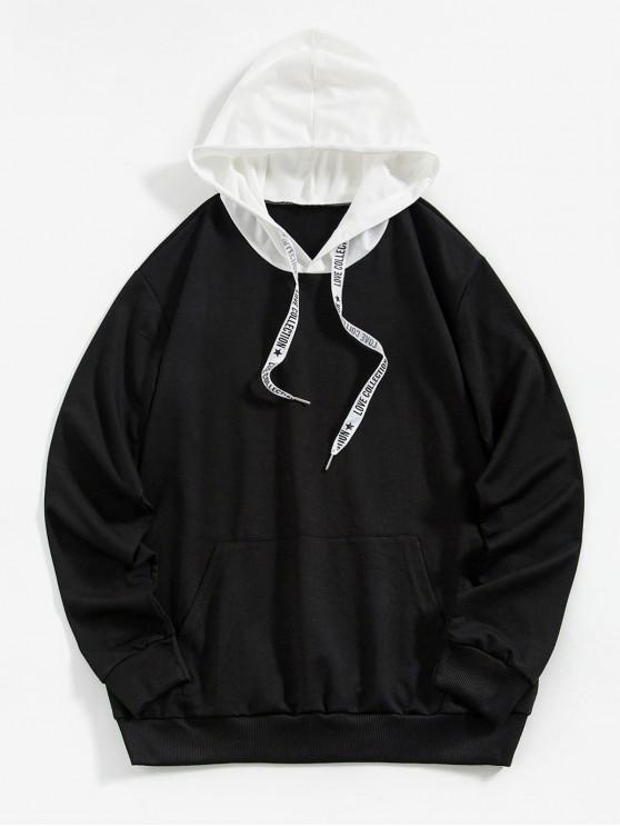 unique ZAFUL Kangaroo Pocket Letter Printed Drawstring Hoodie - BLACK S